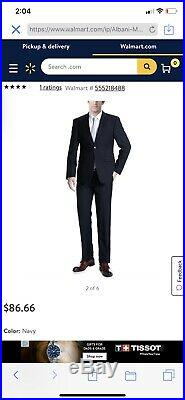 Verno Albani Men's Dark Navy Classic Fit Italian Styled Two Piece Suit