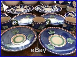 Vietri SOLIMENE CAMPAGNA CHICKEN BLUE 21 Piece Set Salad, Coffee, Mug, Bowls