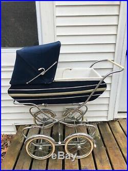 Vintage 1950s Italian Suirrardi Navy Pram Stroller Carriage 2piece Chrome Clean