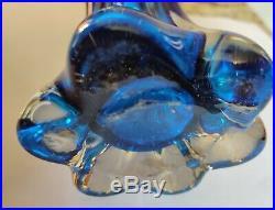 Vintage 1950s handsom Murano Vase in cobalt blue heavy exquisite quality piece