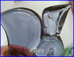 Vintage 1969 Italian Murano 2 Piece 2 Color Unique Glass Bunny Decanter Signed