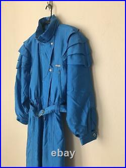 Vintage 80s 90s Colmar Womens Italian Ski Snow Suit Shiny Blue One Piece XS S
