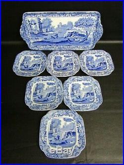 Vintage Copeland Spode Italian Blue Seven Piece Sandwich Set Blue Base Stamp