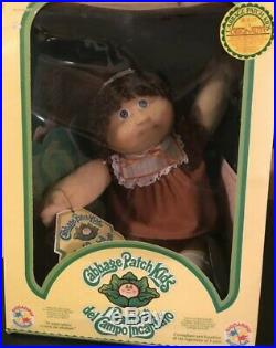 Vintage ITALIAN Cabbage Patch Doll NEW In Box BROWN HAIR BLUE EYES 1980s NRFB
