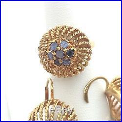 Vintage Italian 18k Yellow Gold & Blue Diamonds Ring & Earrings 3 piece set