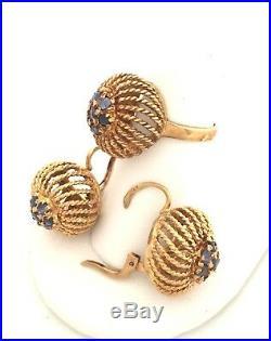 Vintage Italian 18k Yellow Gold & Blue Sapphire Ring & Earrings 3 piece set