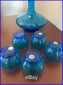 Vintage Italian Diamond Point Blue Glass Decanter 6 piece Set