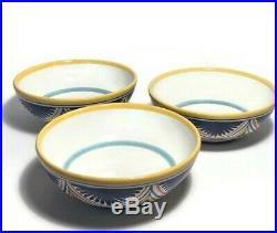 Vintage Italian Pottery Ceramic Dinnerware 15 Pieces Majolica Yellow Blue