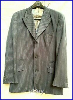 Vintage Mecca 2 Piece Men Suit Navy Blue Pinstriped Italian 46L 40/28 Cuffed