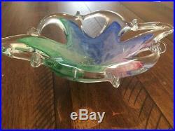 Vintage Modern Italian MURANO Art Glass Center Piece Bowl Pink Blue Green