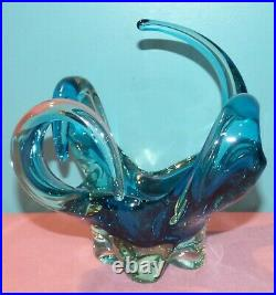 Vintage Murano Blue & Clear Glass Abstract Center Piece Bowl / Vase