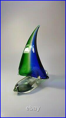 Vintage Murano Glass Sailboat Sculpture Green/Blue Sommerso Glory Art Piece