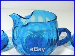Vintage Pitcher & Juice Glasses 7 Piece Set Blue