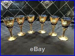 Vintage Venetian Murano Glass 24kt Gold Painted Cobalt Blue 8 Piece Set