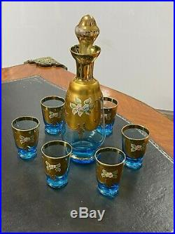 Vintage Venetian Murano Italy Glass 24kt gold Painted Cobalt Agua Blue 7 Piece