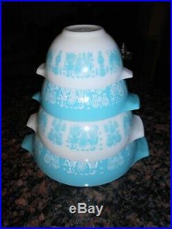 Vtg Pyrex 4 Piece BUTTERPRINT Amish Cinderella Nesting Bowls Turq/Wht EX Cond