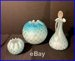 WOW Murano Glass Satin Diamond Quilted Pitcher Beautiful! Set Of 3 Pieces